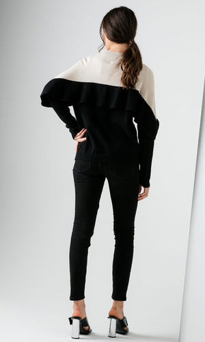 City Chic Black Colorblock Long Sleeve High Neck Ruffle Pullover Sweater - Sold Out