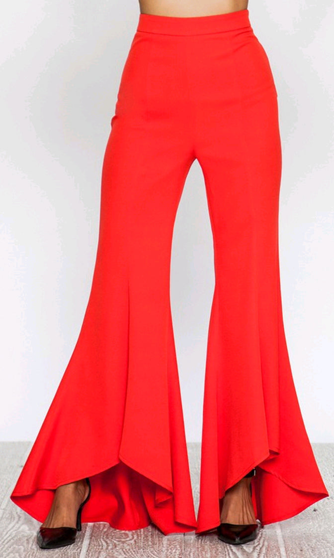 Remember Me Forever High Waist Flare Leg High Low Loose Pants - 2 Colors Available