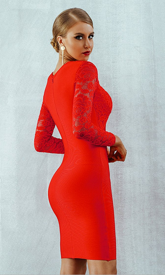 Handle With Care Red Lace Long Sleeve Sweetheart Neck Bodycon Bandage Mini Dress