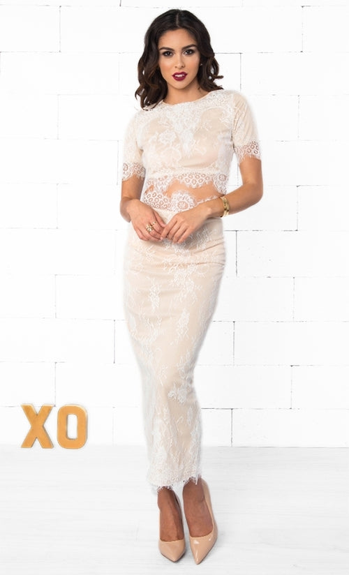 Indie XO Loved and Adored Beige White Lace Short Sleeve Scoop Neck Crop Top Bodycon Midi Skirt Two Piece Dress - Just Ours!