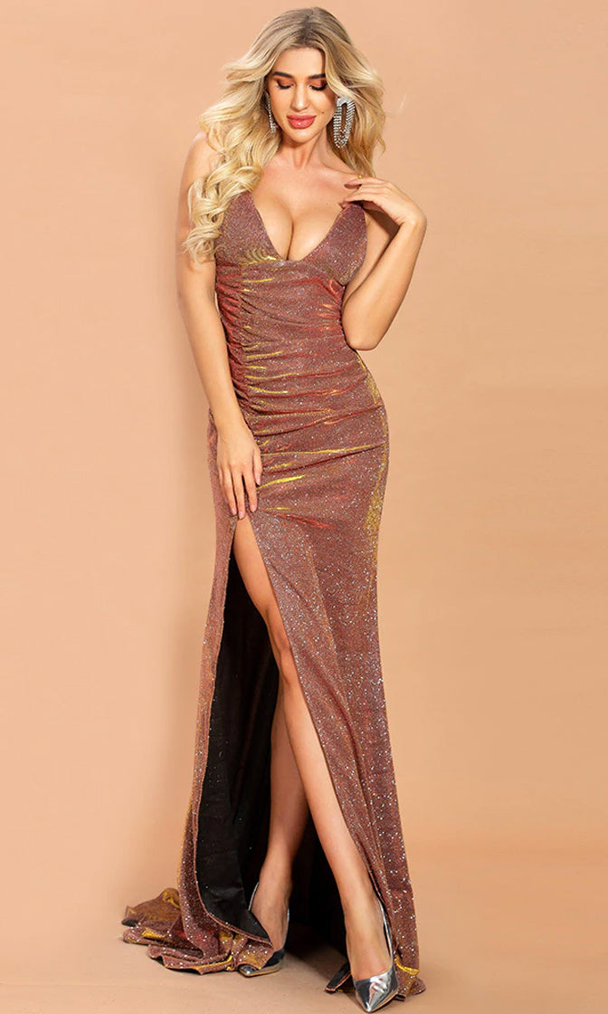 Beginner's Luck Metallic Sleeveless Spaghetti Strap Sleeveless V Neck Ruched High Slit Mermaid Maxi Dress - 2 Colors Available