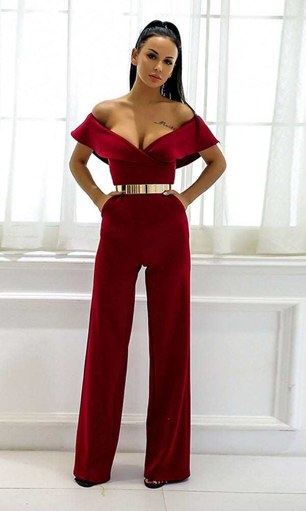 Making Plans Short Sleeve Foldover Ruffle Off The Shoulder V Neck Jumpsuit - 2 Colors Available