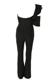Friday Night Fantasy Black One Shoulder Ruffle Cut Out Flare Leg Jumpsuit - Sold Out