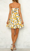 Wildflower Wishes White Lemon Floral Pattern Strapless Smocked Ruffle Empire Waist Casual Mini Dress - Sold Out