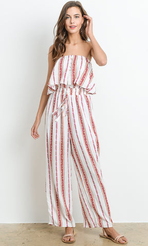 Overnight Sensation Sleeveless Halter Plunge V Neck Sheer Mesh Floral Pattern Beaded Lace Jumpsuit - 2 Colors Available