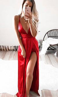 Ivory Tower Satin Spaghetti Strap V Neck Backless Double Slit Maxi Dress - 7 Colors Available - Sold Out