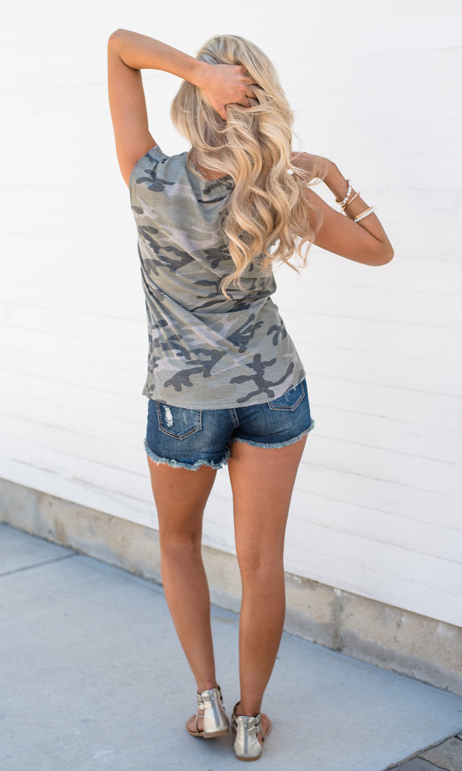 What A Trooper Camouflage Pattern Sleeveless V Neck American Flag Pocket French Terry Top - Sold Out