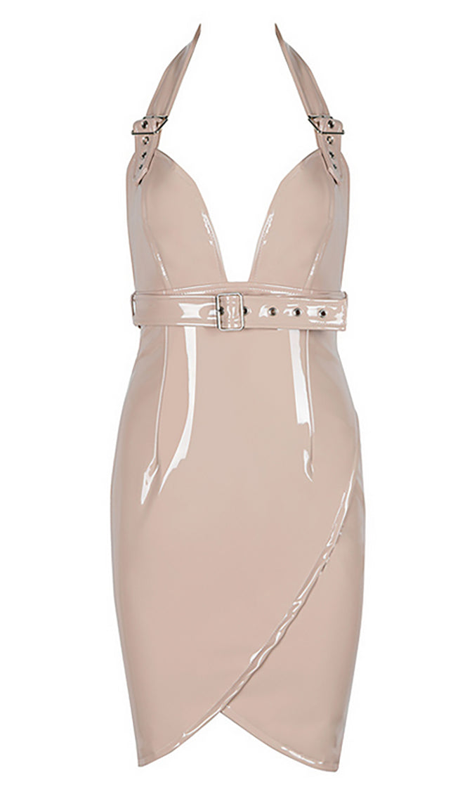 Never Surrender PU Faux Leather Sleeveless Buckle Halter Neck Tulip Backless Bodycon Mini Dress - 3 Colors Available
