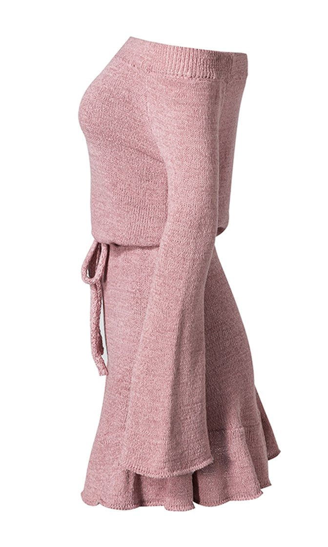 Hold Me High Long Bell Sleeve Off The Shoulder Bow Belt Sweater Knit Tunic Mini Dress - 4 Colors Available - Sold Out