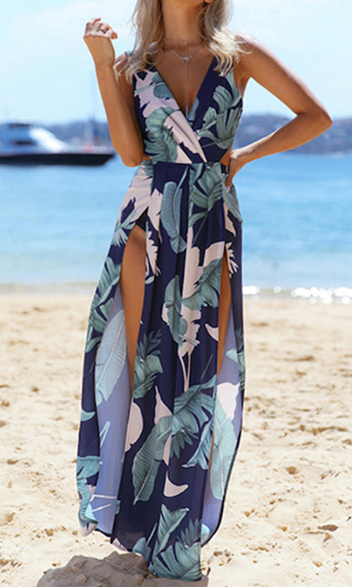 Don't Let Go Floral Pattern Sleeveless Cross Wrap V Neck Cut Out Back Double Slit Casual Maxi Dress - 2 Colors Available