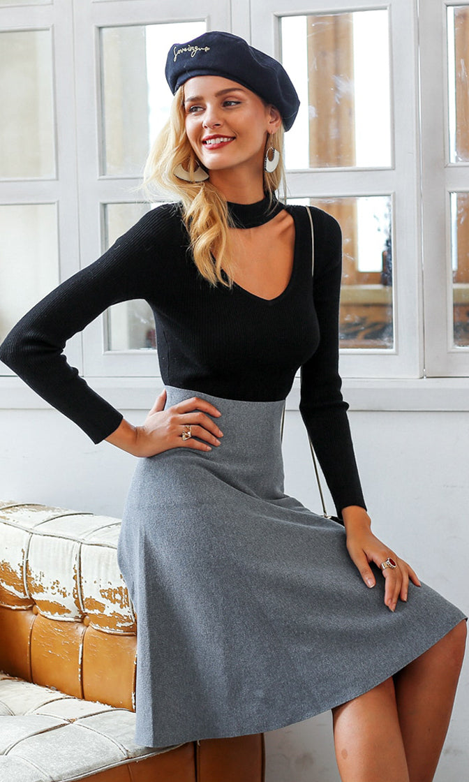 Working On It High Waist A Line Flare Midi Skirt - 3 Colors Available