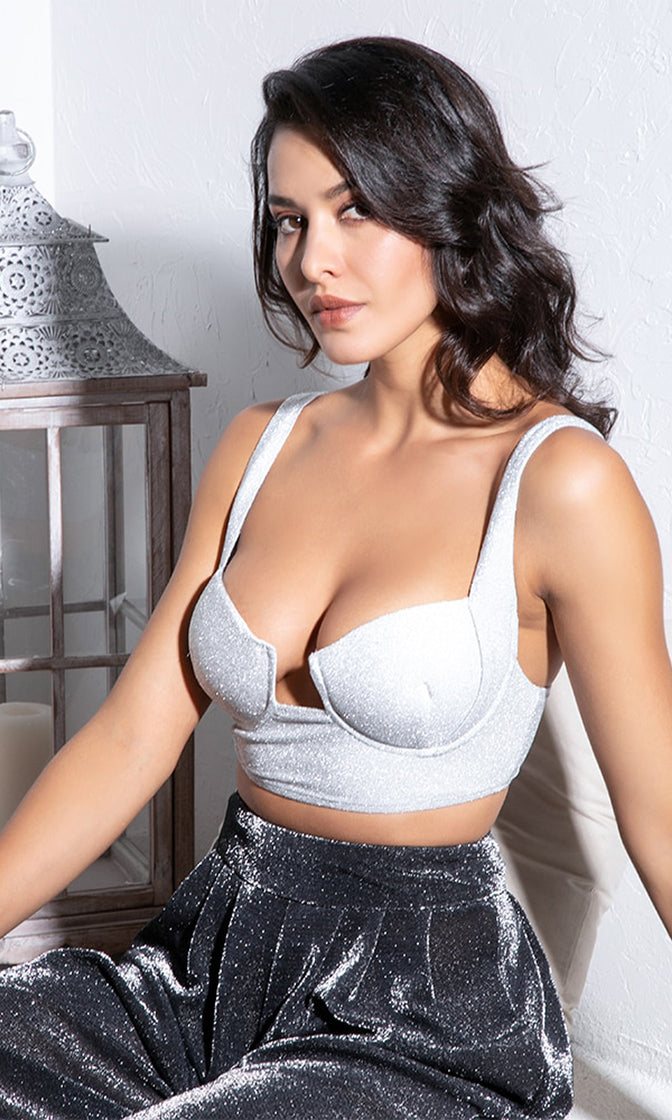 Change Your Mind Grey Glitter Sleeveless Bustier Cut Out Crop Top