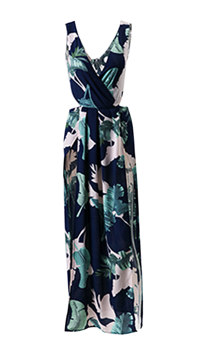 Don't Let Go Floral Pattern Sleeveless Cross Wrap V Neck Cut Out Back Double Slit Casual Maxi Dress - 2 Colors Available - Sold Out
