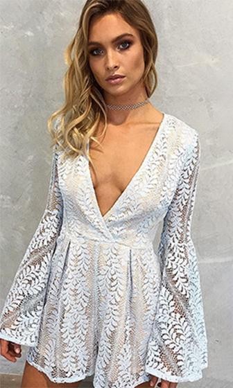 Romantic Revelry Lace Long Bell Sleeve Cross Wrap V Neck Short Romper Playsuit - 2 Colors Available