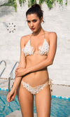 Join The Club White Beaded Lace Chain Strap Triangle Brazilian Tie Side Bikini Two Piece Swimsuit