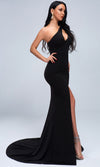 Quick Decision Black Sleeveless One Shoulder Cut Out Bust Front Slit Train Maxi Dress