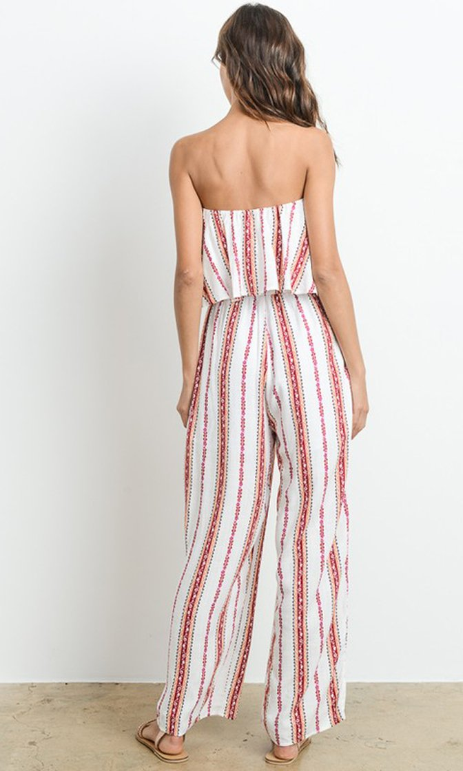Island Holiday Vertical Stripe Pattern Strapless Flounce Top Wide Leg Jumpsuit - 2 Colors Available - Sold Out