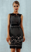Iconic Moment Black Lace Sleeveless Round Neck Bandage Bodycon Mini Dress