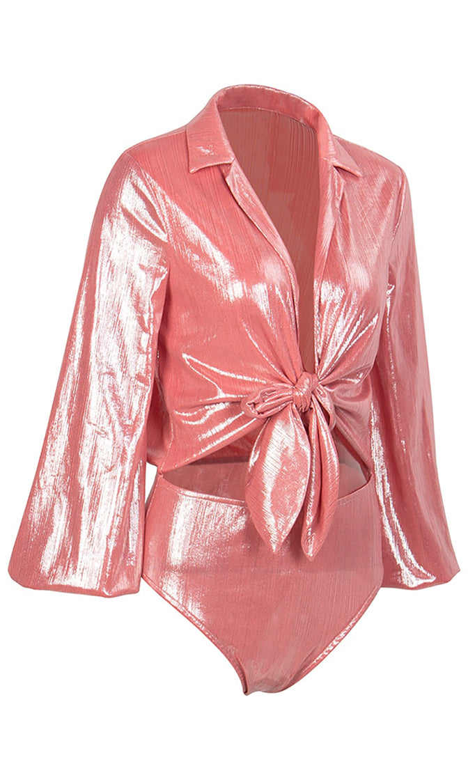 Tomorrow's Child Salmon Pink Long Lantern Sleeve Metallic Plunge V Neck Cut Out Waist Bodysuit Top