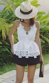 Saturday Sweetheart White Lace Sleeveless Spaghetti Strap V Neck Open Back Peplum Tank Top Blouse