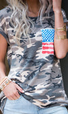 Independence Day Camouflage Pattern Short Sleeve Crew Neck American Flag Pocket Tee Shirt (Pre-order) - Sold Out