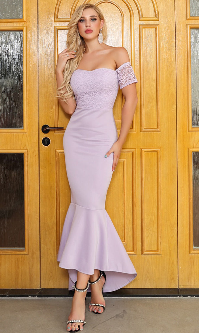Close Enough Light Purple Lace Short Sleeve Off The Shoulder Bodycon Mermaid Maxi Dress