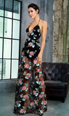 With A Flourish Black Floral Pattern Embroidery Sleeveless Spaghetti Strap V Neck Halter Sheer Mesh Casual Maxi Dress