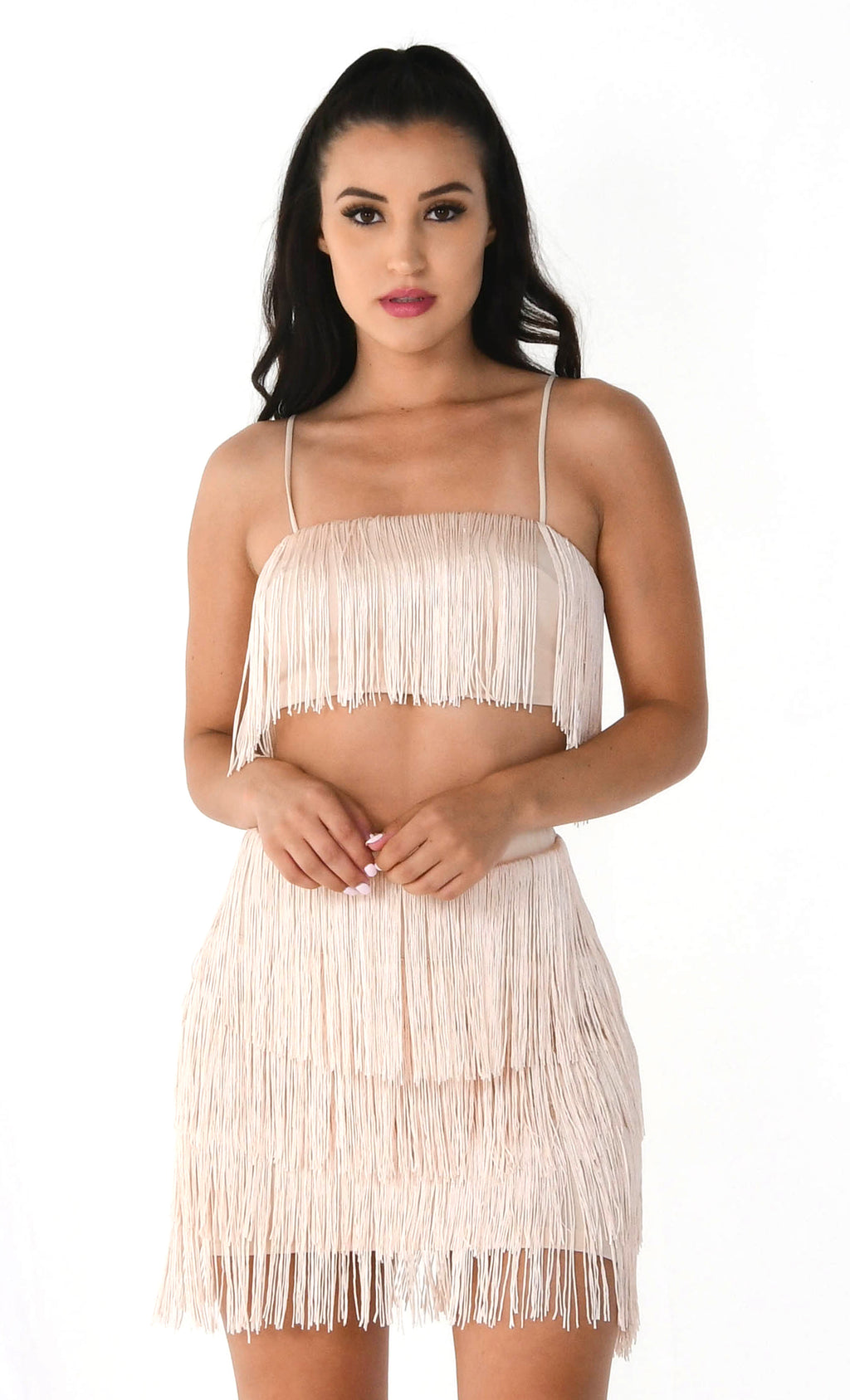 Shot Caller Beige Fringe Sleeveless Spaghetti Strap Crop Top Bodycon Mini Skirt Two Piece Dress