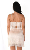 Shot Caller White Sleeveless Spaghetti Strap Fringe Crop Top Bodycon Two Piece Mini Dress
