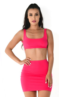 Young And Restless Fuchsia Pink Neon Sleeveless Scoop Neck Backless Crop Top Bodycon Mini Two Piece Dress - Sold Out