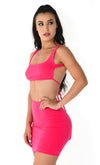 Young And Restless Fuchsia Pink Neon Sleeveless Scoop Neck Backless Crop Top Bodycon Mini Two Piece Dress
