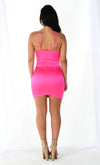 Shine On Satin Hot Pink Faux Silk Sleeveless Spaghetti Strap Round Neck Spaghetti Strap Bodycon Mini Dress
