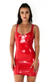 Candy Coated Black PU Faux Leather Vinyl Sleeveless V Neck Stretch Vinyl Bodycon Mini Dress - 3 Colors Available