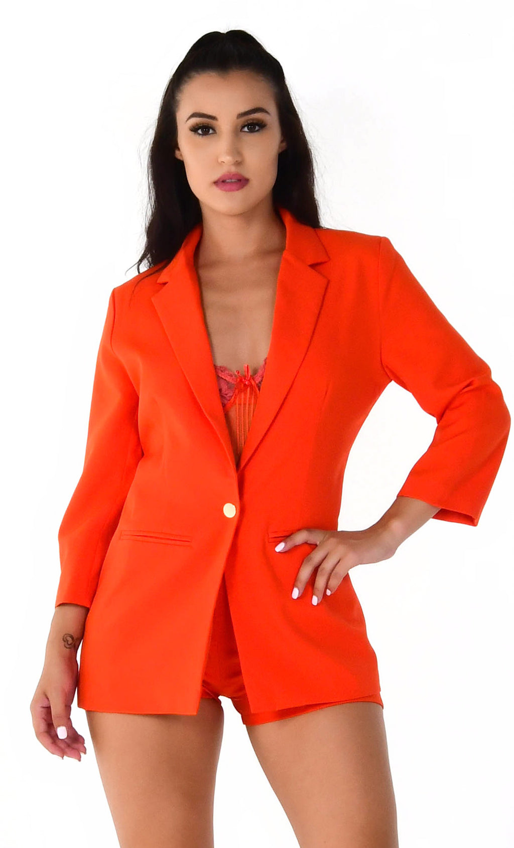 She's A '80s Lady Red Orange 3/4 Sleeve Button Blazer High Waist Short Two Piece Set Romper