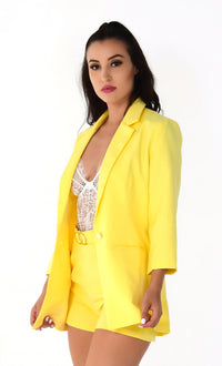 She's A '80s Lady Yellow 3/4 Sleeve Button Blazer High Waist Short Two Piece Set Romper