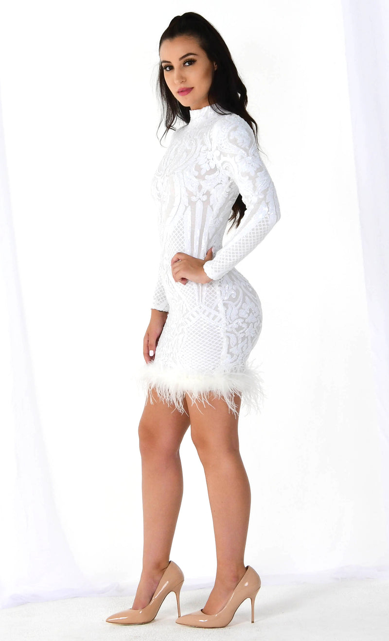 Forever And Ever White Sequin Lace Feather Long Sleeve Mock Neck Bodycon Mini Dress