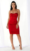 Sultry Siren Satin Sleeveless Spaghetti Strap V Neck Ruched Bodycon Mini Dress - 2 Colors Available