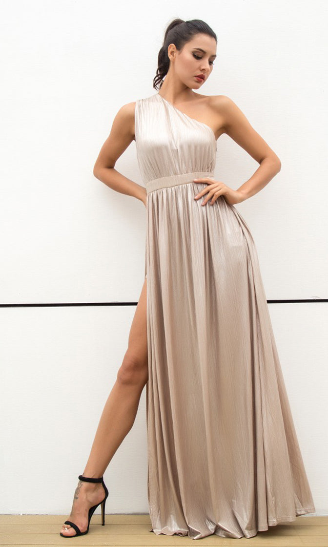 Star Of The Show Nude Sleeveless One Shoulder Side Slit Maxi Dress
