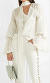 Right Hand Girl White Chiffon Long Flare Sleeve Tiered Ruffle Button Tie Neck Blouse Top - Sold Out