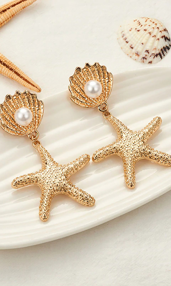 Starry Eyes Gold White Faux Pearl Shell Starfish Dangle Earrings