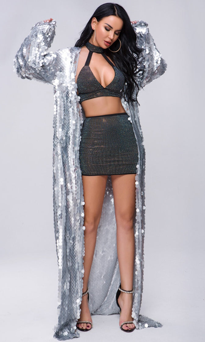 Off The Record Silver Sequin Long Bell Sleeve Open Front Cardigan Maxi Dress