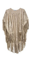 Wild Wild West Beige Faux Suede Laser Cut Loose Sleeve Fringe Kimono Jacket -  Sold Out