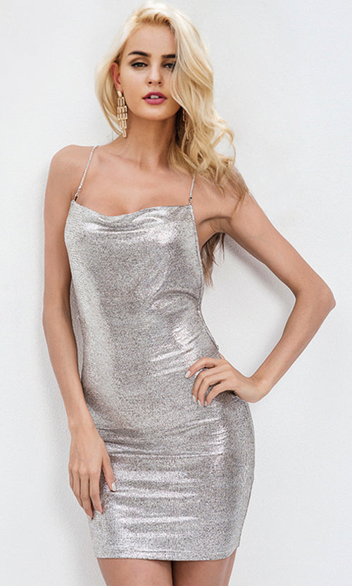 Overnight Fame Silver Sleeveless Spaghetti Strap Backless Bodycon Mini Dress