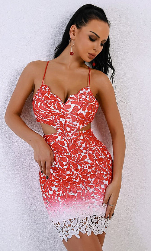 Summer Dreams Red Pink Ombre Lace Sleeveless Spaghetti Strap Cut Out Backless Bodycon Mini Dress
