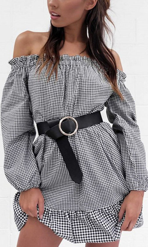 She's Crafty Black White Gingham Check Pattern Long Sleeve Off The Shoulder Ruffle Casual Mini Dress