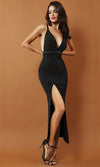 No Stopping Us Black Beaded Sleeveless Spaghetti Strap Plunge V Neck Slit Bodycon Maxi Dress - Sold Out