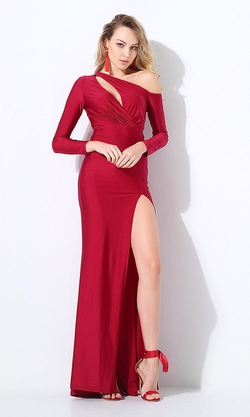 So Smooth Wine Long Sleeve One Shoulder Cut Out Asymmetric High Slit Maxi Dress