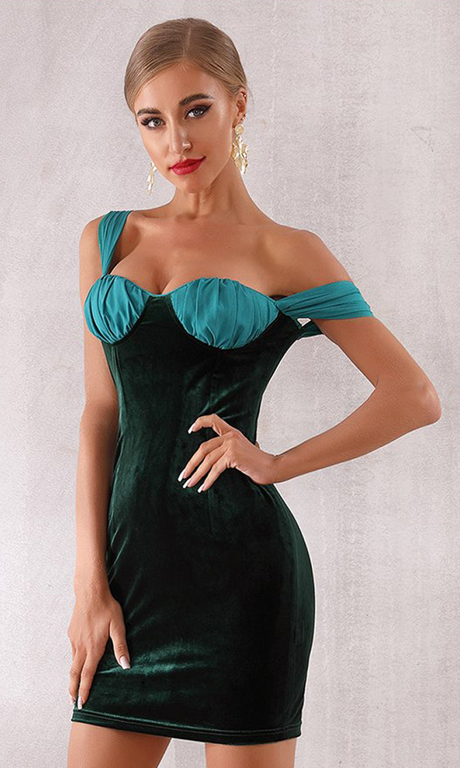 Going Back For More Teal Black Sleeveless Pleated Diagonal Strap Bodycon Mini Dress