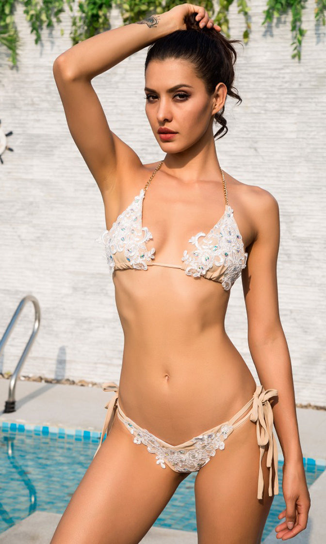 Join The Club White Beaded Lace Chain Strap Triangle Brazilian Tie Side Bikini Two Piece Swimsuit - Sold Out