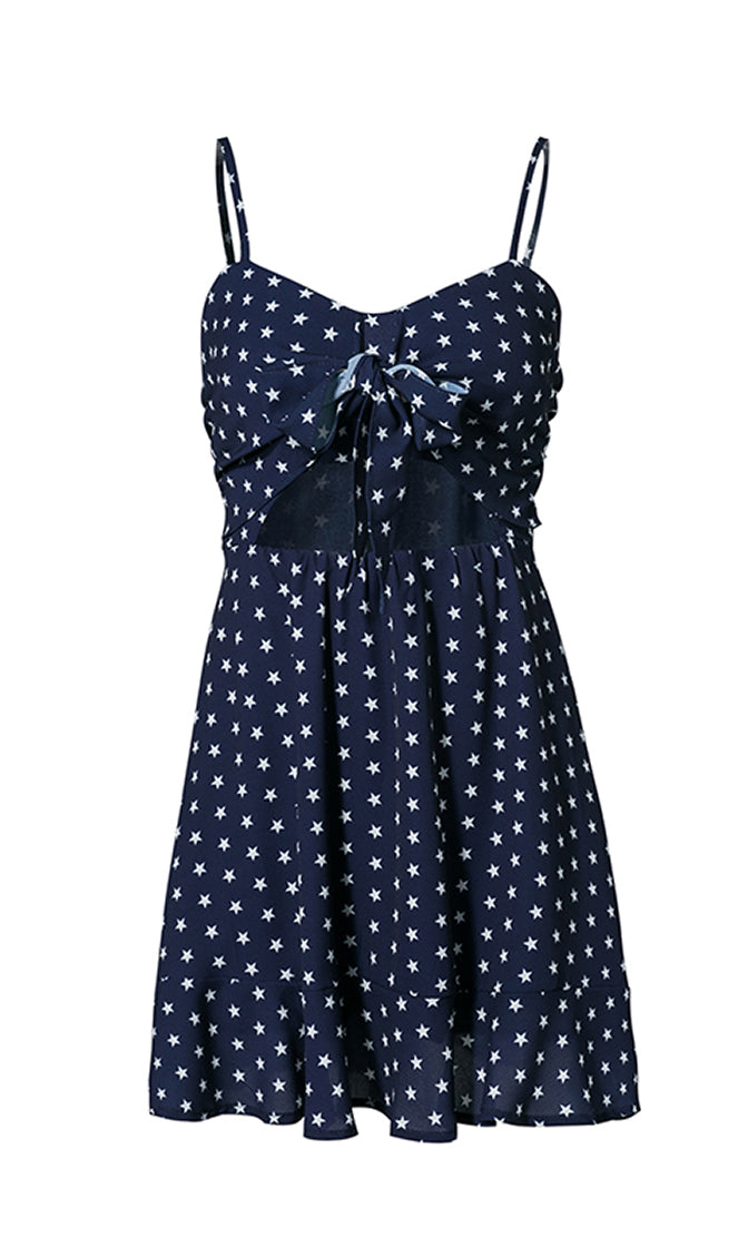 Total Independence Star Pattern Sleeveless Spaghetti Strap V Neck Bow Cut Out Flare A Line Casual Mini Dress - 2  Colors Available